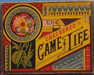 Checkered Game of Life, 1860s, Milton Bradley; parts box