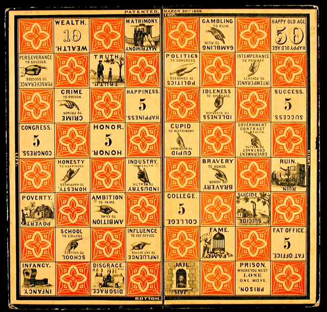 Checkered Game of Life, 1866 edition, Milton Bradley